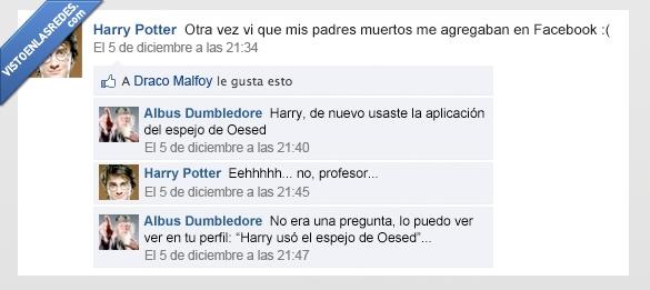 aplicacion,dumbledore,espejo,facebook,harry potter,oesed,padres