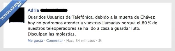 chavez,llamadas,luto,muerte,sudamericanos,telefonica