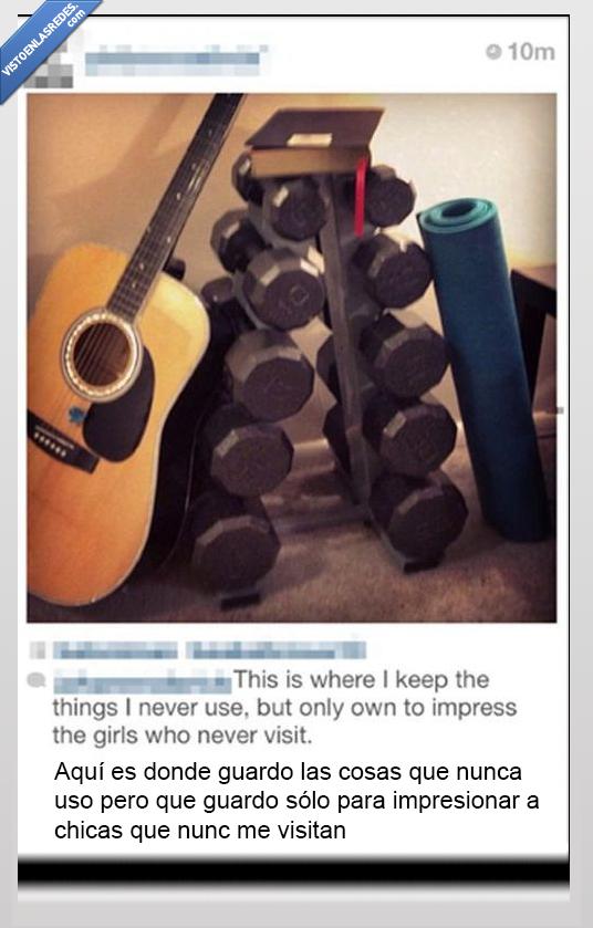 abdominales,esterilla,guitarra,impresionar,instagram,pesas,usar