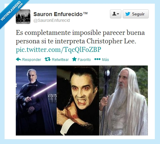Christopher Lee,Dooku,Drácula,Saruman,Villano