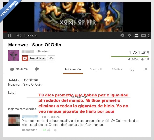cancion,dios,gigante,hielo,LOL,Manowar,Sons of Odin,vikingo,youtube