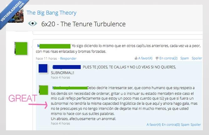 big bang teoria,chico,educacion,respeto,subnormal