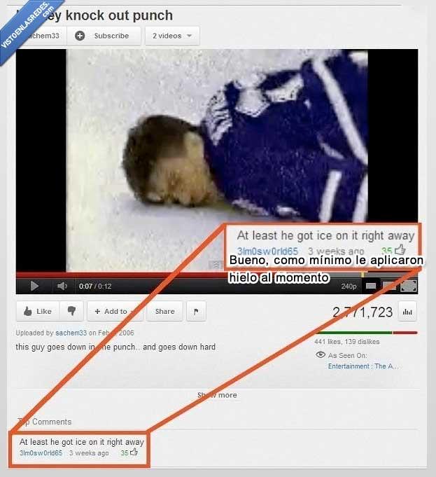 cara,comentario,hielo,hockey,puñetazo,video,youtube