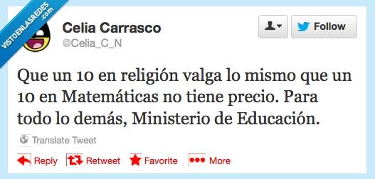 matemáticas,ministerio de educación,notas,religión,twitter