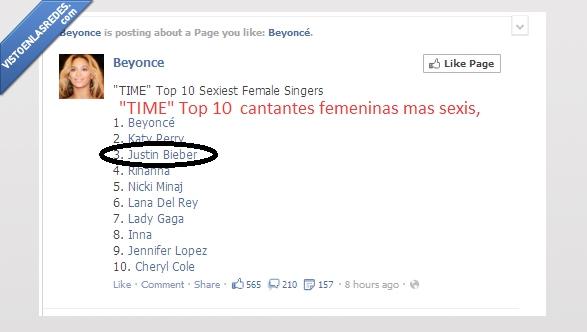 beyonce,cantante,facebook,Justin Bieber,mujer