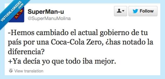 cambiar,coca cola zero,gobierno España,notar la diferencia