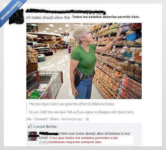 comprar pan,con armas,mayor,mujer