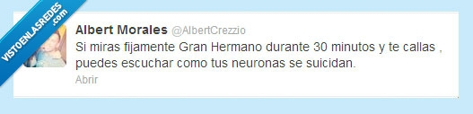 GH,gran hermano,neuronas,Suicidio,telecinco,tvbasura,twitter