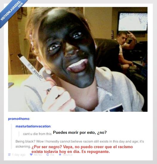 cara,foto graciosa,morir,negra,pintada,posts,rotulador,tumblr