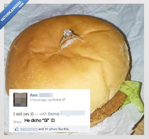 anillo,comer,hamburguesa,matrimonio,mcdonalds,pedir