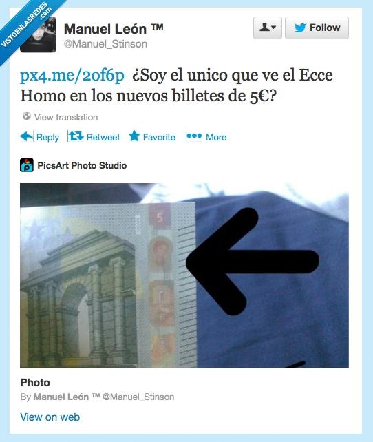 5€,Billete,Dinero,Ecce Homo,España,Twitter