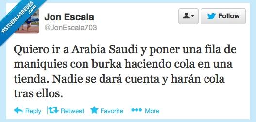 arabes,burka,cola,esperar,maniquí,muñeco,tienda,troll