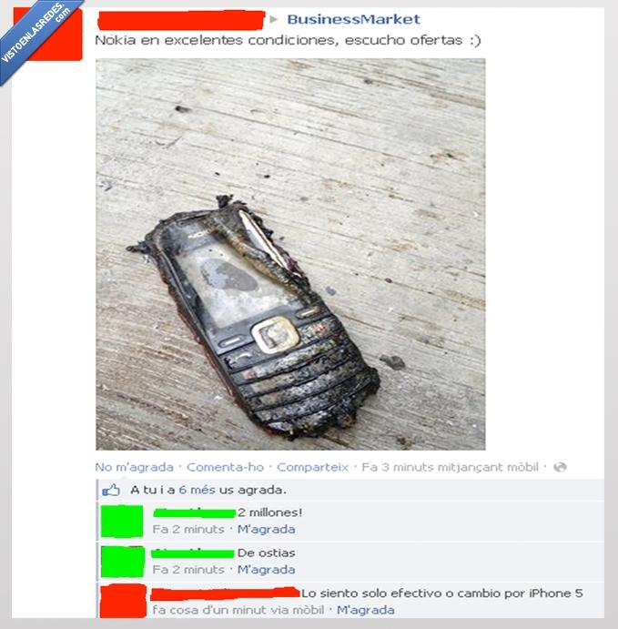 cambiar,destruido,efectivo,iphone 5,movil,nokia,quemado,roto