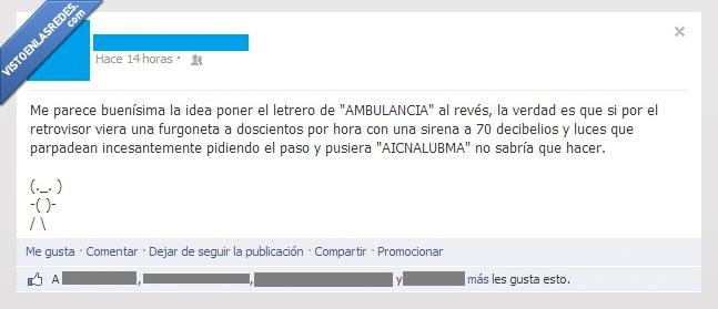 Aicnalubma,al revés,Ambulancia,buena,idea