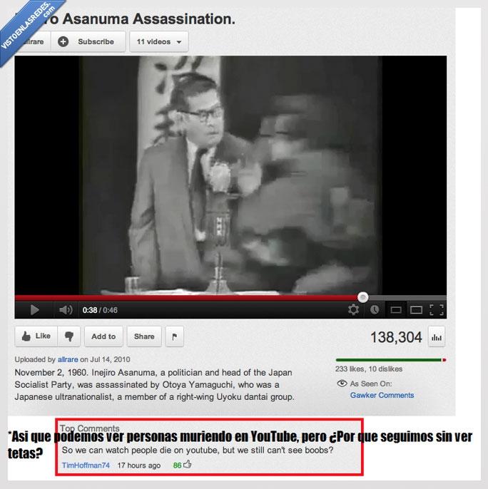 asesinato,doble rasero,inejiro asanuma,youtube