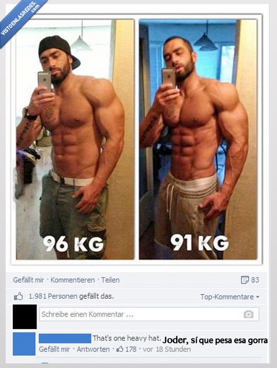fuerte musculazos,gorra,kilo,perder,peso