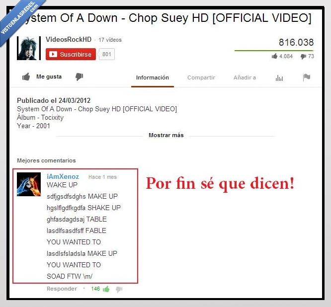 canción,Chop Suey,misterio,revelado,system of a down,youtube
