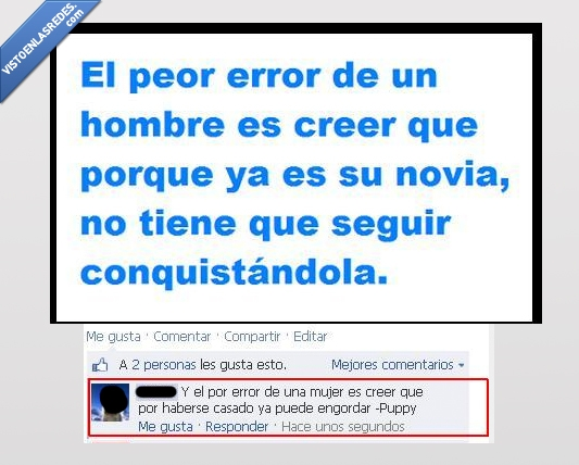 conquistar,engordar,error,frases cursis,hombre,mujer,troll
