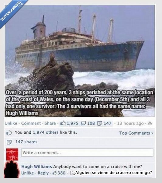 barco,crucero,facebook,hugh williams,humor,naufragio,superviviente