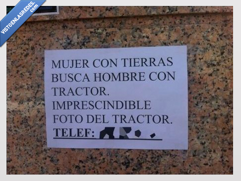 anuncio,foto,hombre,mujer,papel,tierras,tractor