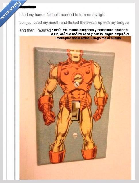 interruptor,iron man,luz,o eso creo,switch,tumblr