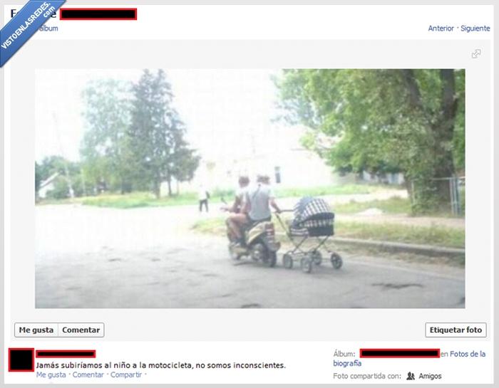 bebe,carro,cuidar,inconcientes,moto,motocicleta,niño,padres de mierda