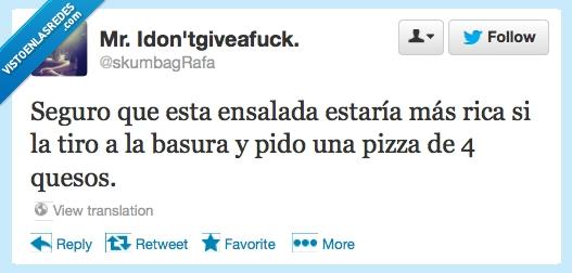 cuatro quesos,Ensalada,Pizza,Twitter