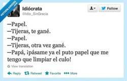 Enlace a Papel y tijeras, por @idio_singracia