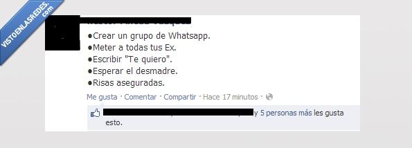 desmadre,esperar,ex,grupo,meter,risas,te quiero,troll,whatsapp
