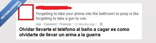 baño,cagar,imprescindible,movil,olvidar,pistola,telefono