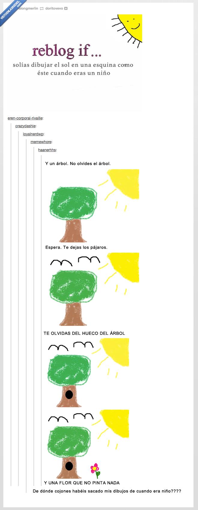 agujero,arbol,ave,cara,dibujar,esquina,mismo,niño,pequeño,sol,tumblr