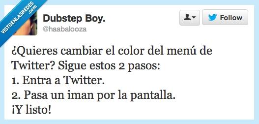 cambiar,color,dos pasos,iman,menu,pantalla,Twitter