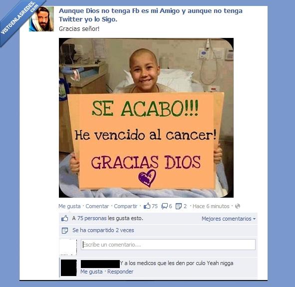 cancer,Dios,falsos,gracias,medicos,niño,salvar