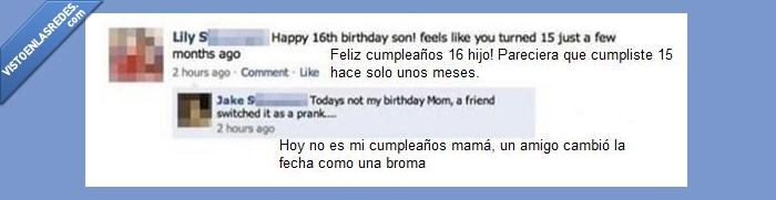 cumpleaños,facebook,hijo,madre,madre del año,olvidadiza,publicación