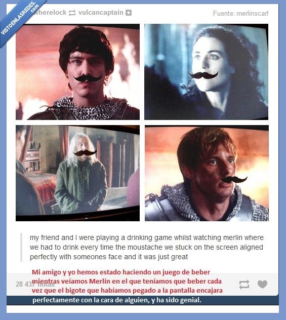 arturo,bigote,juego de beber,Merlín,Morgana,serie