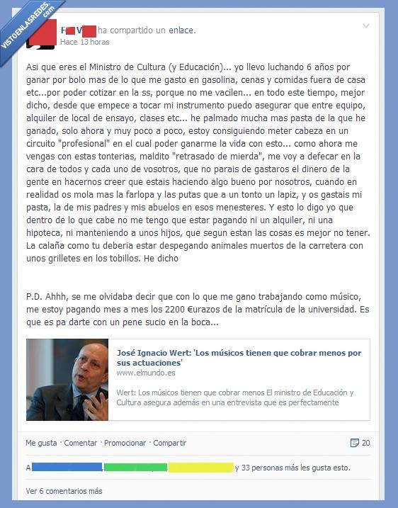 crisis,españistan,mensaje a wert,ministro wert,musica,musico,sueldos bajos