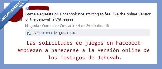 facebook,juegos,solicitud,testigos de jehova