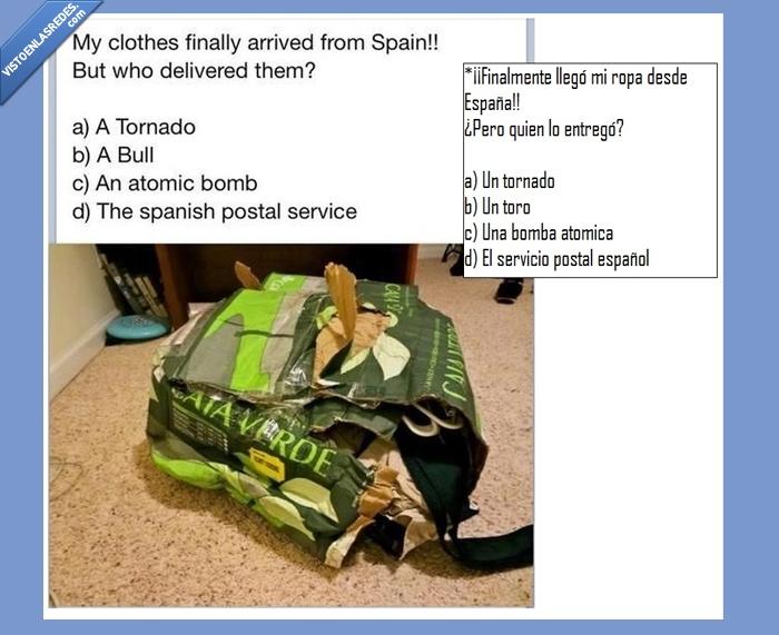 bomba,caja,correos,españa,paquete,ropa,tornado,toro,verde