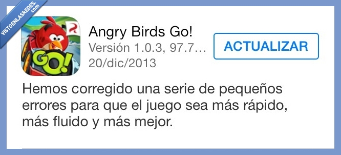 actualizacion,angry birds,error,ipad,iphone,mas mejor,rapido