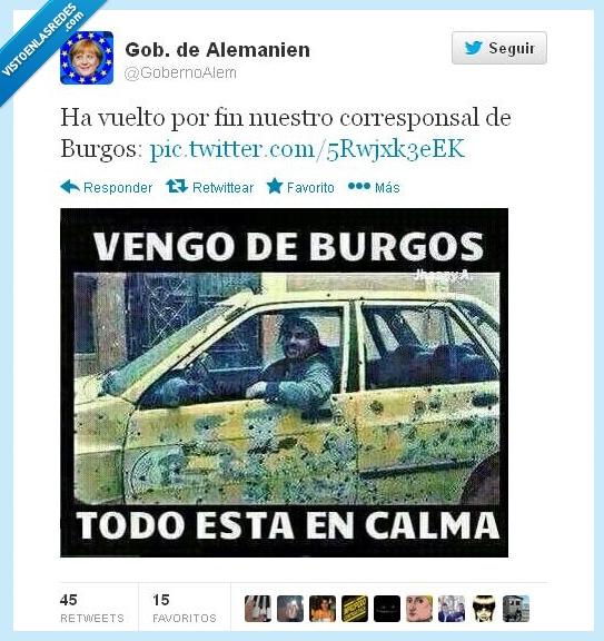balazo,Burgos,calma,coche,disparos,Gamonal,manifestacion,Merkel,RAjoy