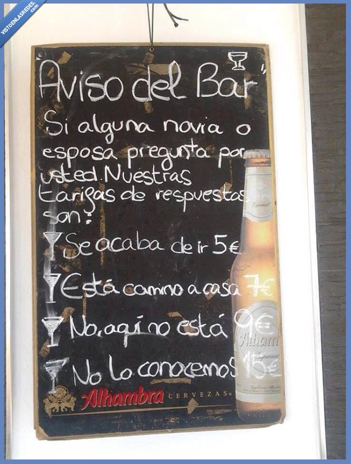 alhambra,aviso,bar,bebido,borracho,cerveza,esposas,novias,parranda,respuestas,tarifas