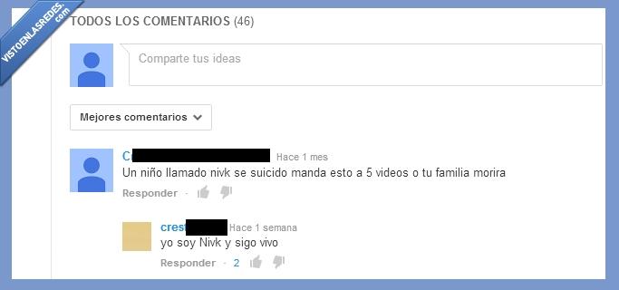 cadena,estoy bien,maldito,nivk,sigo vivo,youtube