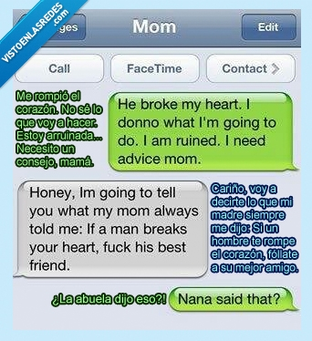 abuela,amigo,consejo,corazon,hija,madre,mejor,romper
