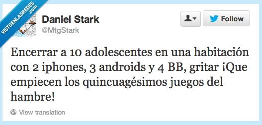 adolescentes,android,blackberry,iphone,Juegos del hambre,movil,MtgStark