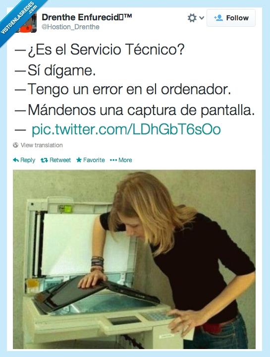 captura,error,fotocopiadora,mujer tenía que ser,ordenador,pantalla,rubia tenía que ser,servicio técnico
