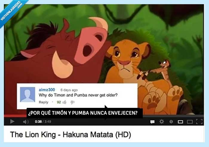 corto,envejecer,lumbreras,pumba,rey leon,timon,video