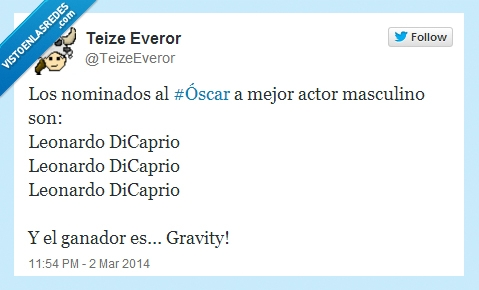 2014,Gravedad,Gravity,Leonardo Dicaprio,Oscar,Oscars,Resumen