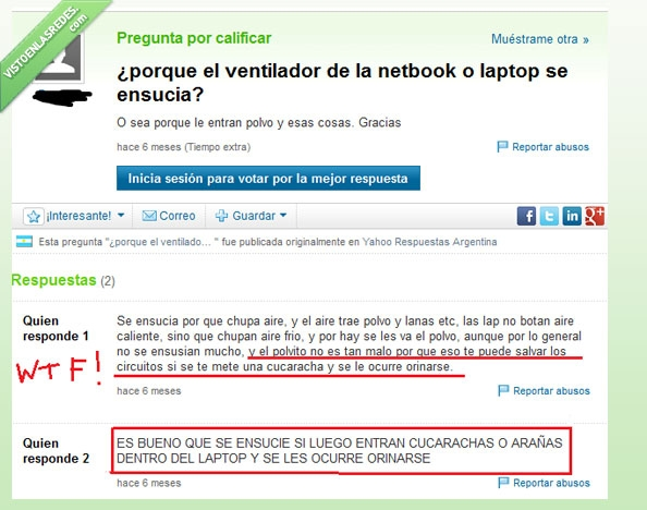 cucarachas,LOL,orinar,pipi,polvillo,proteger,wtf?,Yahoo respuestas