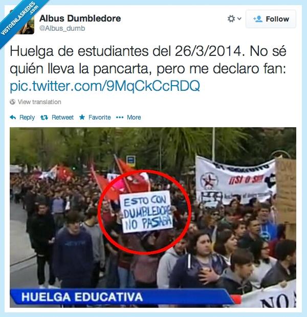 cartel,educacion,esto con dumbledore no pasaba,Hogwarts,huelga estudiantes,pancarta