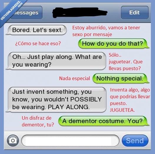 dementor,disfraz,friki,harry potter,sexting,whatsapp